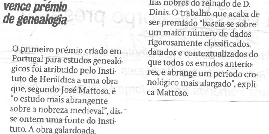 """(63) """"Sottomayor Pizarro vence prémio de genealogia"""" - 2000 10 23 CPorto 25-80r"""