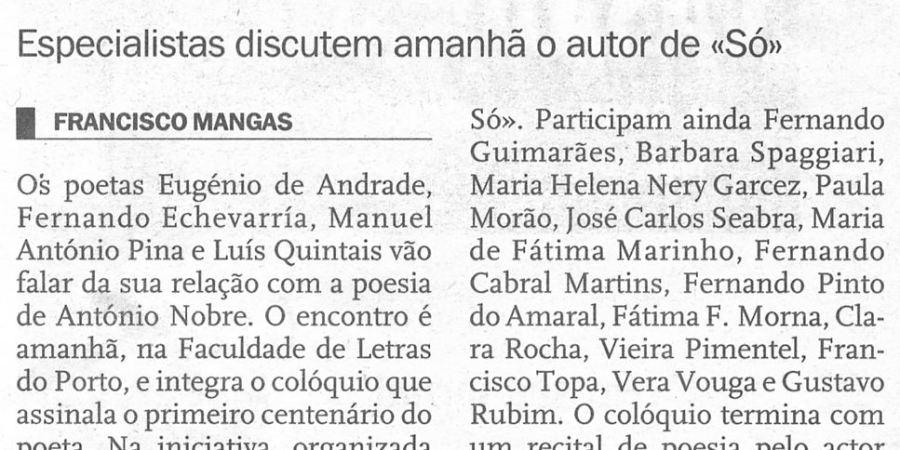"""(42) """"António Nobre evocado em encontro no Porto"""" - 2000 11 09 JNoticias 49-100r"""