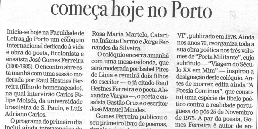 """(5) """"Colóquio sobre Gomes Ferreira começa hoje no Porto"""" - 2001 02 19 Publico 33-130r"""