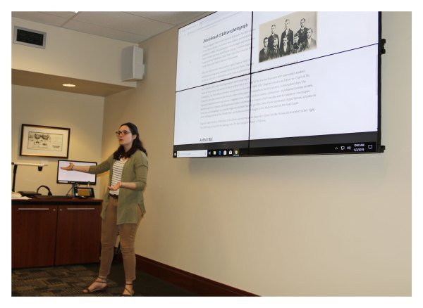 """Maddie Gehling's part of """"Voices, Identities, & Silences: Investigating 150 Years of Diversity in the Purdue Archives"""" focused on """"Women's Leadership in the 1890s."""" In her archival research, Gehling found that Agnes Eugenie Vater served as the very first editor-in-chief of The Purdue Exponent """"(the university's student newspaper), the first edition of which was printed in December 1889."""""""