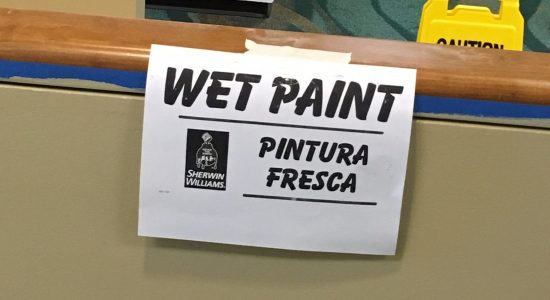 Wet paint in the central admin suite