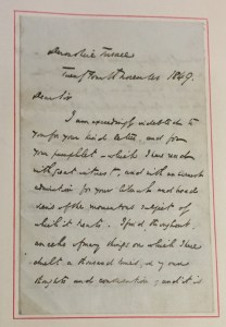 Image showing first page of letter addressed to Dear Sir.