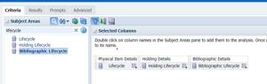 Screenshot of alma analytics showing lifecycle