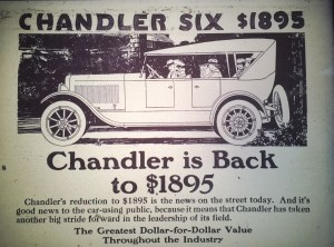 1920 advertisement for a Chandler automobile