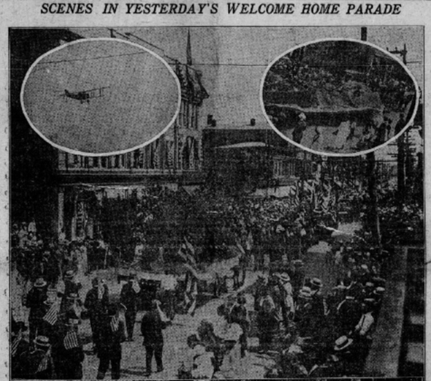 "Images of parade, biplane in sky under text ""Scenes in Yesterday's Welcome Home Parade"""