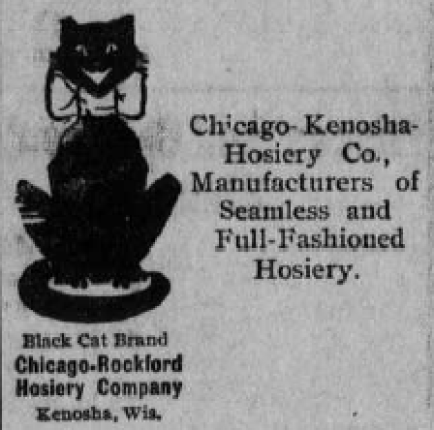 Advertisement showing sitting black cat with grin and white bow around neck.