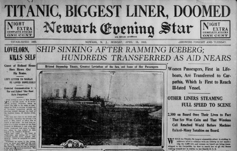 Partial front page of Newark Evening Star and Newark Advertiser showing news of the Titanic sinking (but wrongly saying all passengers saved).