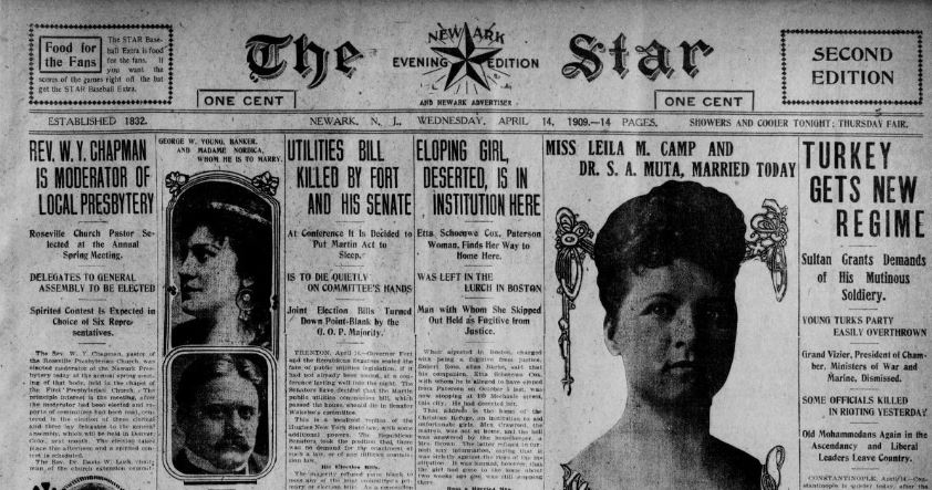 Partial front page of The Newark Star and Newark Advertiser, April 14, 1909