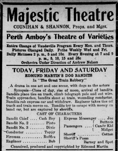 """Advertisement for the the film """"The Great Train Robbery"""" playing at the Majestic Theatre."""