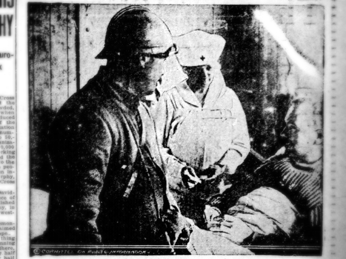 Nurse and Director of American Red Cross Canteen Services Mrs. W. K. Vanderbilt speaks with two soldiers at an American field hospital in France. Taken from the January 24, 1918 issue of the Perth Amboy evening news.
