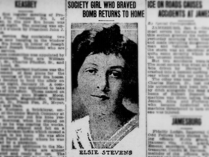 Portrait of Elsie Stevens from the January 8, 1918 issue of the Perth Amboy evening news.