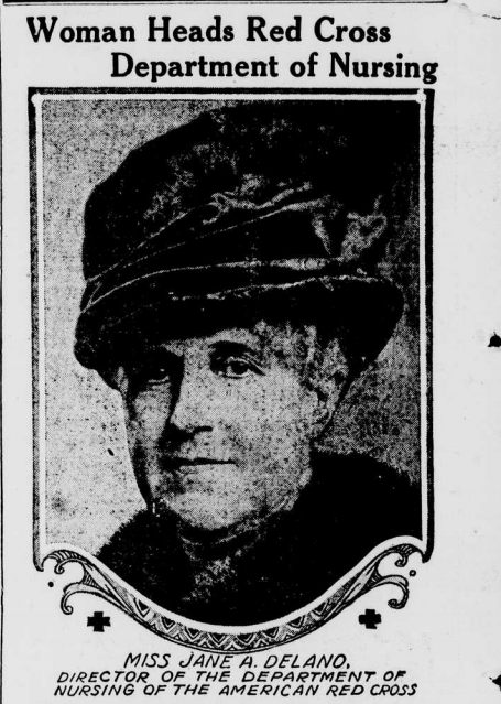 """Portrait of Jane Delano, """"Women Heads Red Cross Department of Nursing."""" She is responsible for creating a massive organization that trained women to serve as nurses for military and public health duty."""