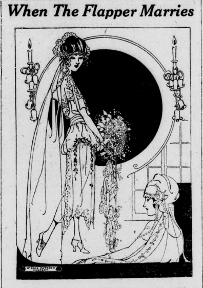 Image of Flapper Bride in modern wear.