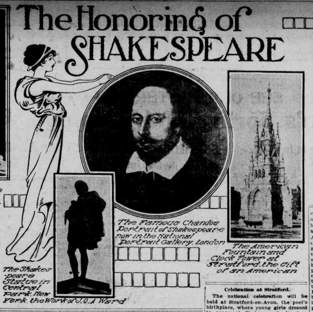 """Image with the heading """"The Honoring of Shakespeare"""" shows his portrait and monuments dedicate to him."""
