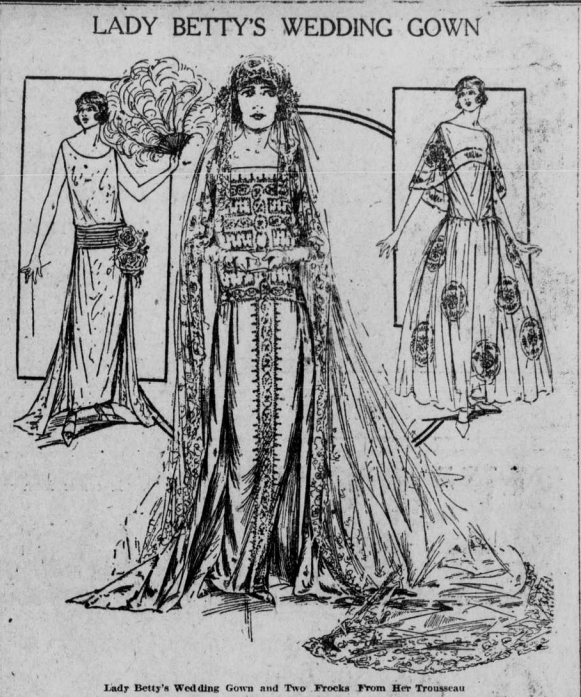 """Illustrated image of woman in wedding gown with heading """"Lady Betty's Wedding Gown."""""""