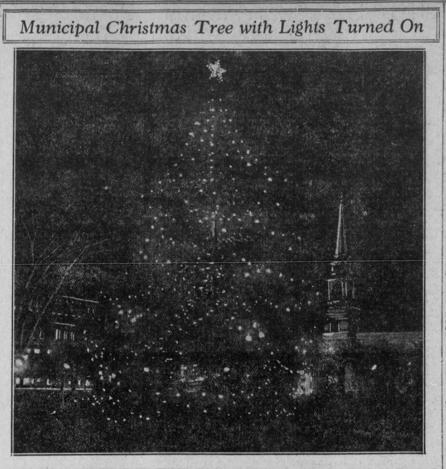 "Image of Christmas tree with the heading ""Municipal Christmas Tree with Lights Turned On."""