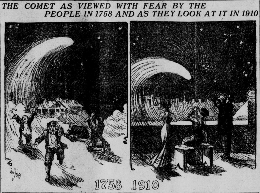 "Image of Halley's Comet with the heading ""The Comet As Viewed with Fear By the People in 1758 and as They Look At It in 1910."""