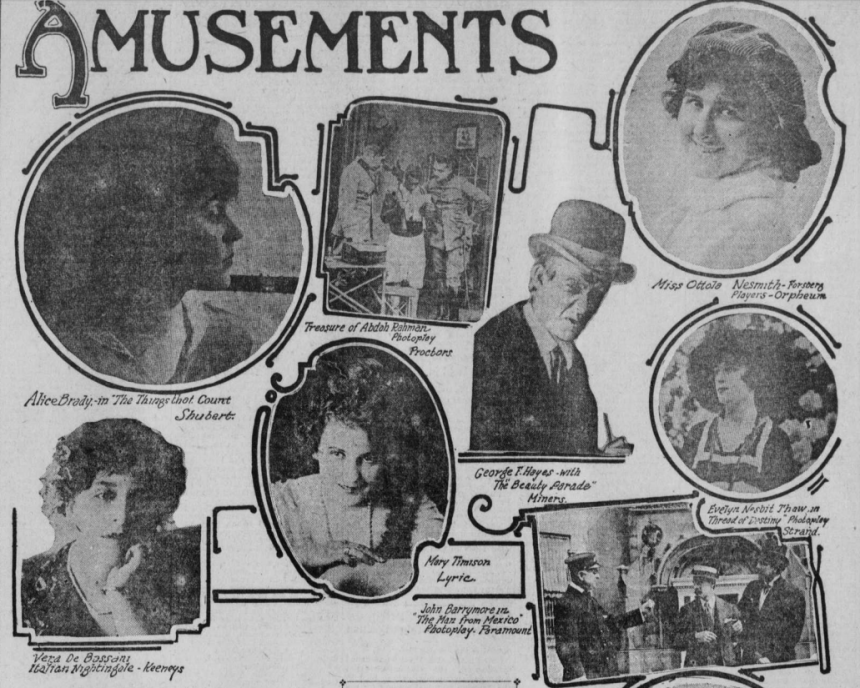 """Images of films with John Barrymore starring in """"The Man from Mexico"""" on the lower right corner."""
