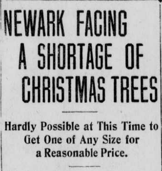 "Article heading titled ""Newark Facing a Shortage of Christmas Trees."""