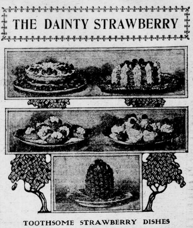 """Image of strawberry dishes with the heading """"The Dainty Strawberry."""""""