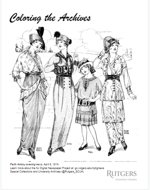 Sample coloring page showing women's fashions