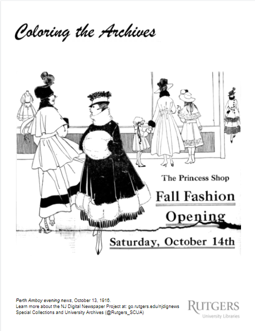 Example of coloring page showing women's fashion.