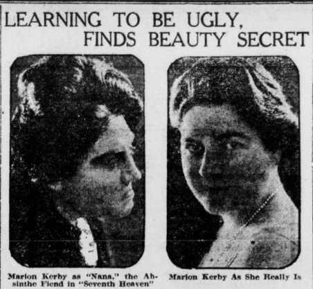 """Headline """"Learning to be ugly, finds beauty secret"""" shows two photos of actress Marion Kerby. One as an """"absinthe fiend"""" (unattractive) and one as her usually attractive self."""