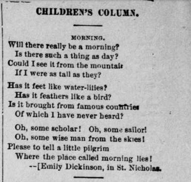 Emily Dickinson poem published in children's magazine, St. Nicholas.