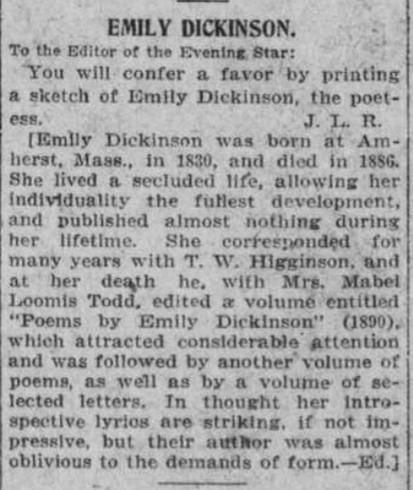 Brief Segment describing Emily Dickinson.