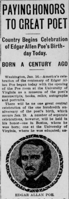 """Article titled """"Paying Honors to Great Poet."""" Celebration of the 100th Anniversary of Poe's Birthday."""