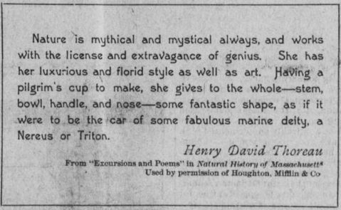 """Excerpt from Thoreau's """"Excursions and Poems"""" in Natural History of Massachusetts."""