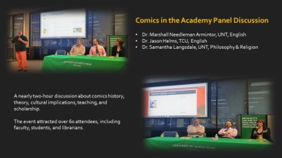 """Slide from """"Comics in the Academy"""" Panel Presentation at Willis Library, April 2017"""