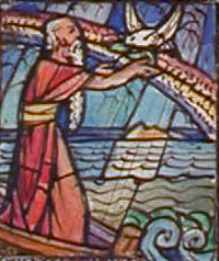 Detail from: Design drawing for stained glass window with Old Testament figures: Noah, Abraham, and Moses for Old Mariners' Church in Detroit, Michigan. Full catalog information is at the link.