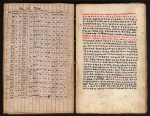 Ethiopian manuscript with caledar table.