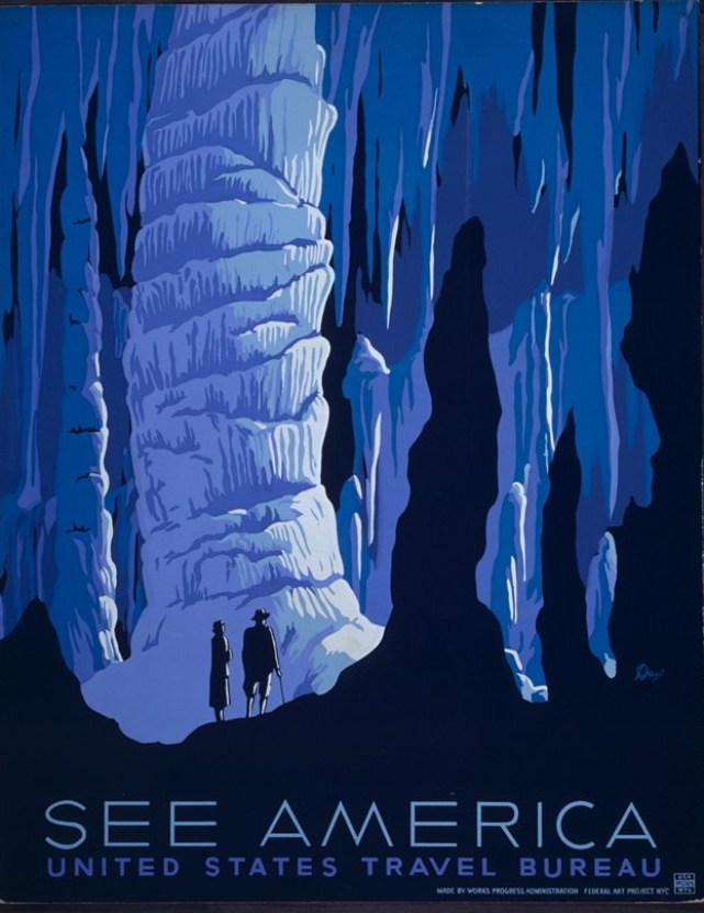 A huge cavern, with stalagmites and stalactites, dwarfing the silhouetted figures of a man and woman. Painted in blue and black.