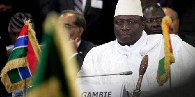 Gambian President Yahya Jammeh attends a meeting of the Economic Community of West African States (Ecowas) in Dakar, April 2, 2012. (Joe Penney / Reuters)