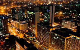 A bird's eye view of the city of Nairobi by night