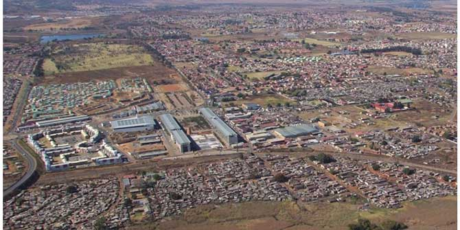 An aerial view of Kliptown, South Africa which expected an influx of tourists keen to visit historical sites under apartheid