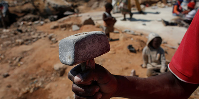 The tool in this photo is one of the major artisanal tools used by zama-zama popularly known as 'hamura' (hammer). Photography by Alexia Webster and Janet Munakamwe 13/09/2014