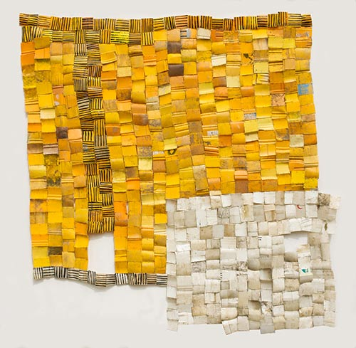 Serge Attukwei Clottey, Love and Connections, 2016, Plastics, wire and oil Paint, 95 x 89 inches, ©the artist, courtesy Gallery 1957, Accra