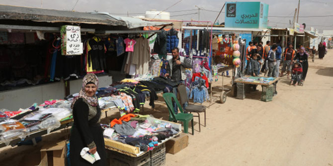 Syrian refugees in the Zaatari refugee camp in Jordan, located 10 km east of Mafraq, Jordan on 27 March 2016. Image credit: World Bank Photo Collection, Dominic Chavez