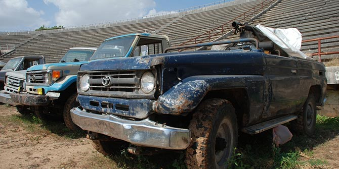 Trucks abandoned by Al Shabaab in Somalia Photo Credit: Enough/Laura Heaton via Flickr (http://bit.ly/2eqfrOV)