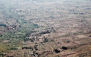 An aerial view of Malawi farmland