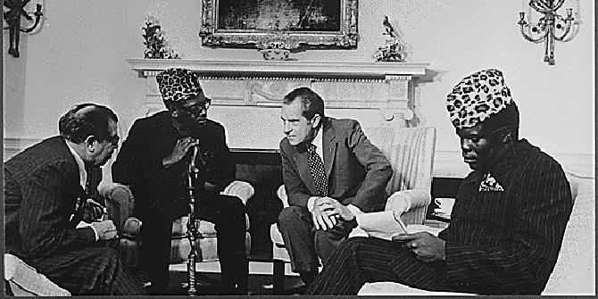 Mobutu Sese Seko and Richard Nixon in Washington DC in October 1973