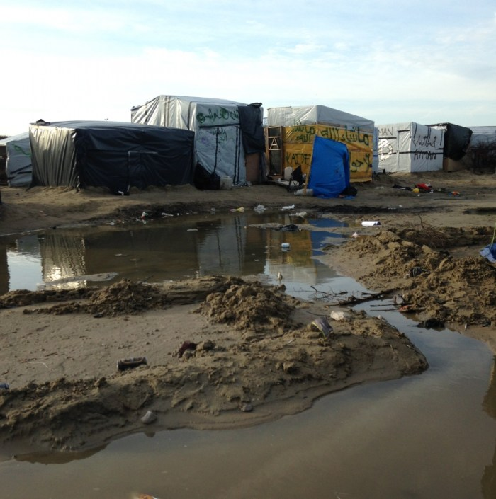 Most of the improvised shelters in the camp are surrounded by mud and waste from almost all directions