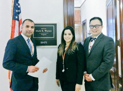 Mohammed Seyam, Mayra Artiles, and Daniel Chen at Sen. Warner's office