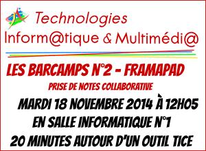 Barcamp n°2 - Framapad