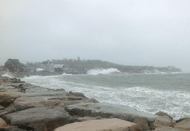 Hurricane Sandy hitting the coast of Hull, MA. Photo credit: Aislinn Dewey