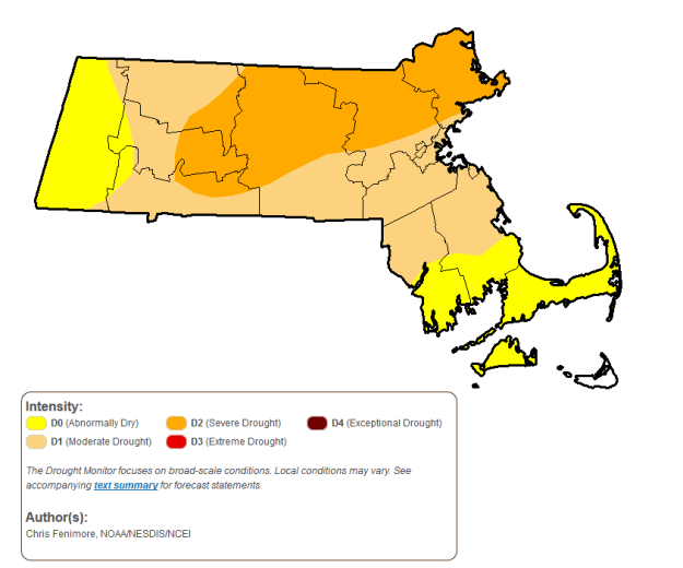 US Drought Monitor map of MA July 2016