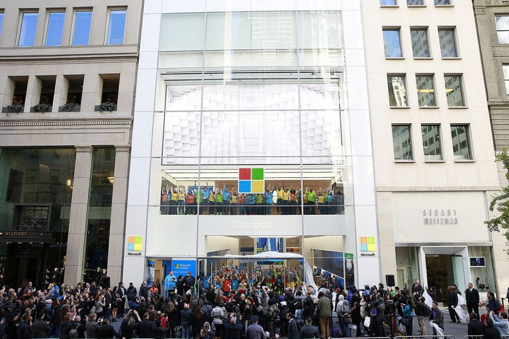 Crowds outside the Microsoft Store on Fifth Avenue in New York City